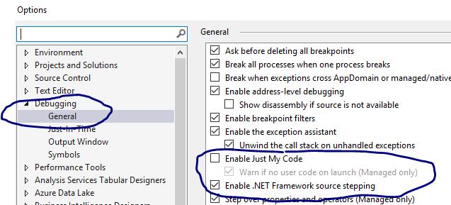 Visual Studio: Debug > Options > Debugging > General